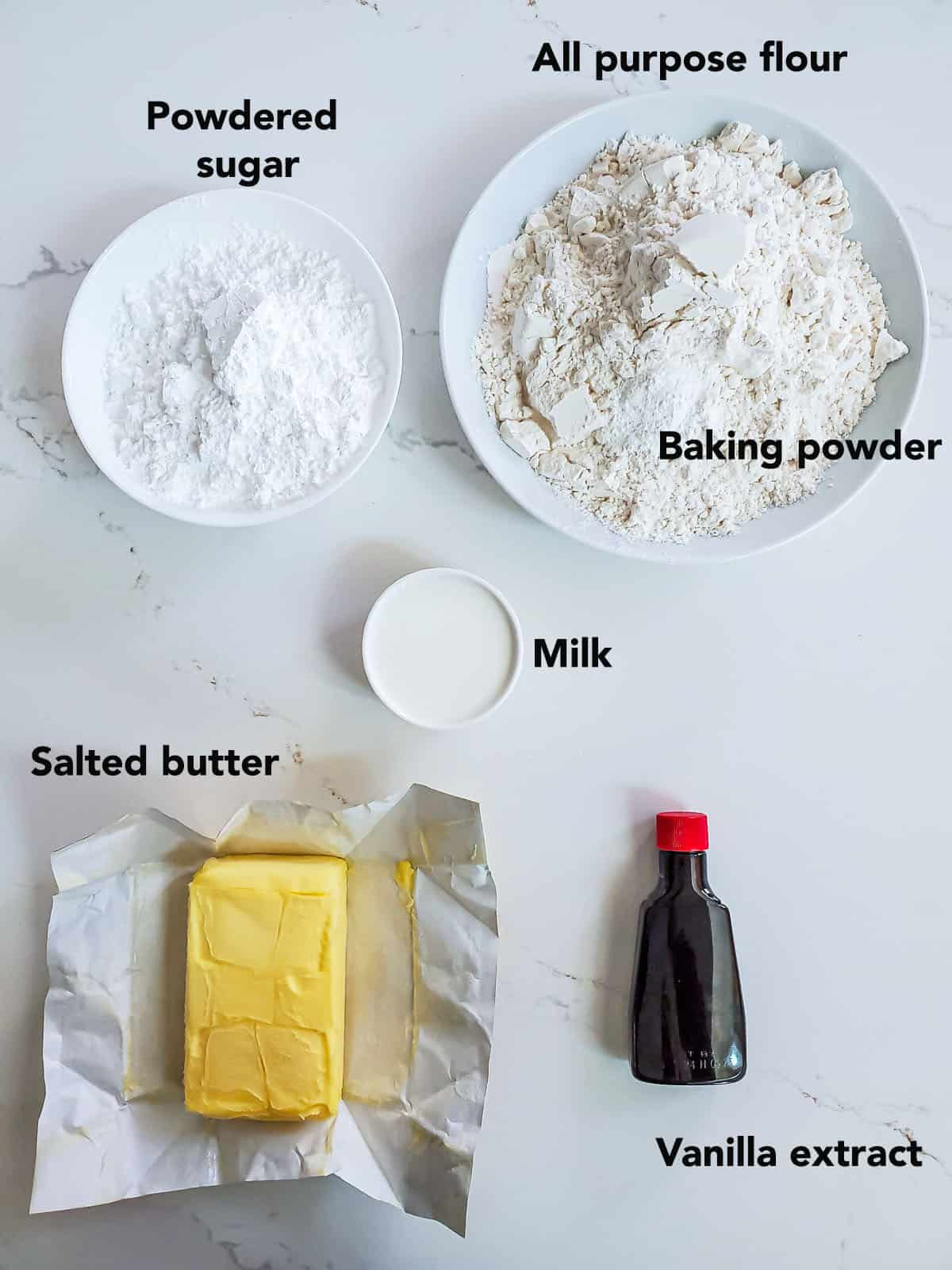 Eggless Sugar Cookie ingredients on a white surface