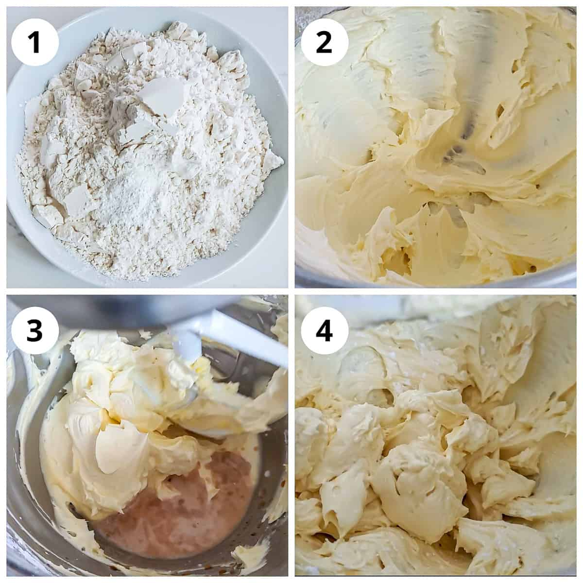 Steps for mixing dry ingredinets and creaming butter sugar, vanilla and milk