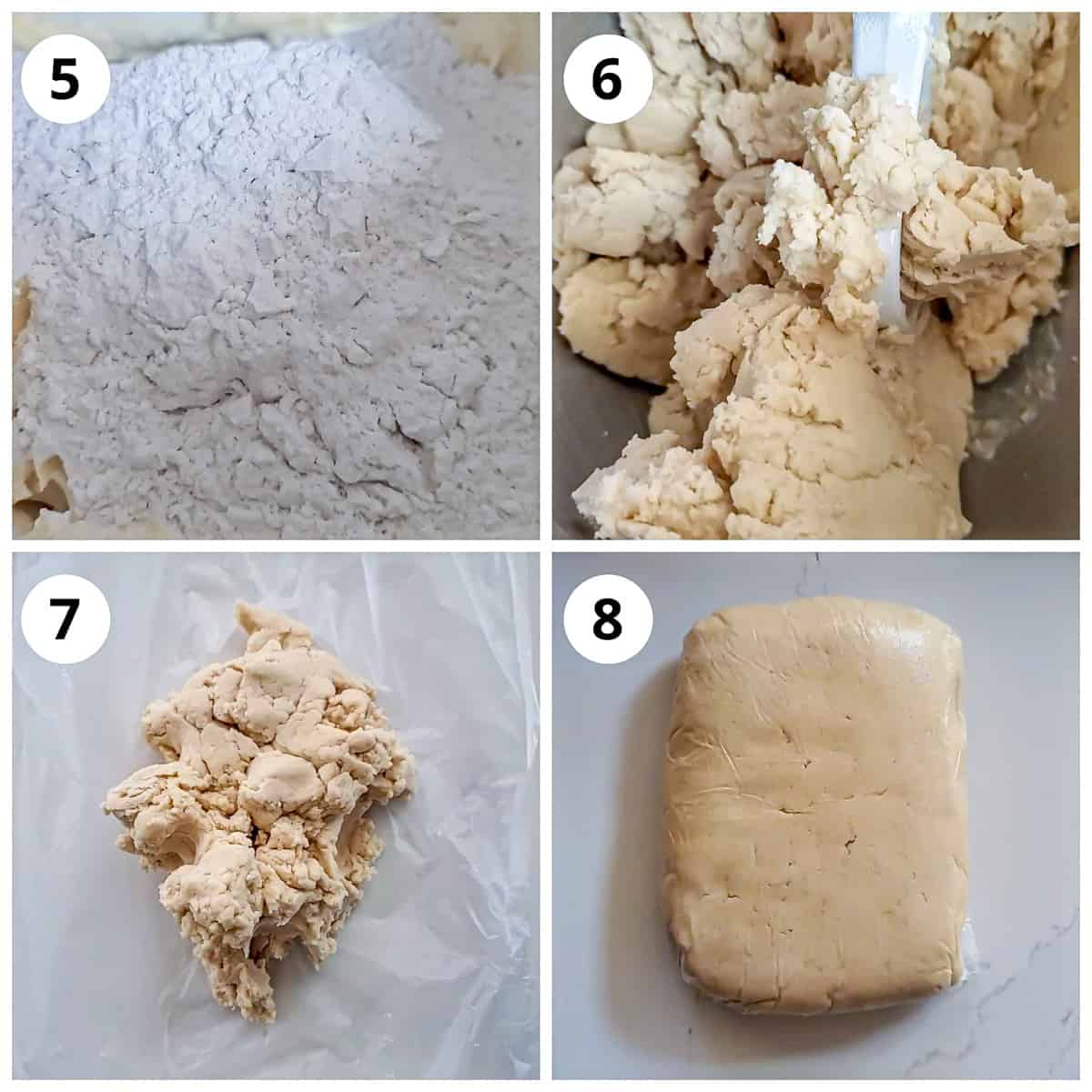 Steps for making the eggless sugar cookies dough