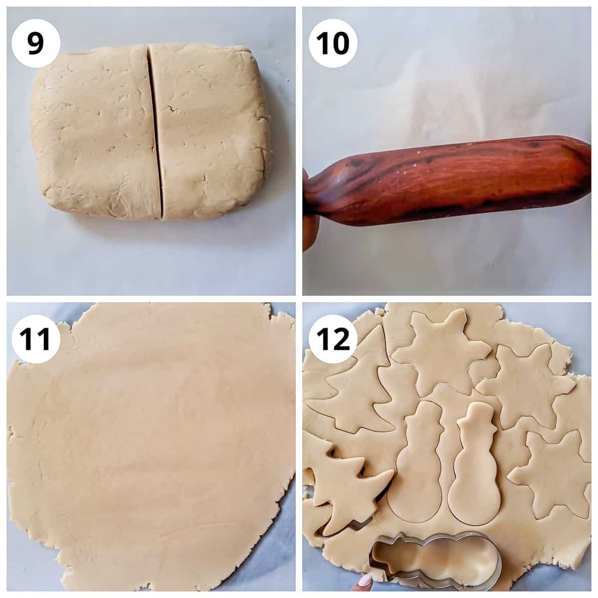 Steps for rolling and cutting sugar cookies