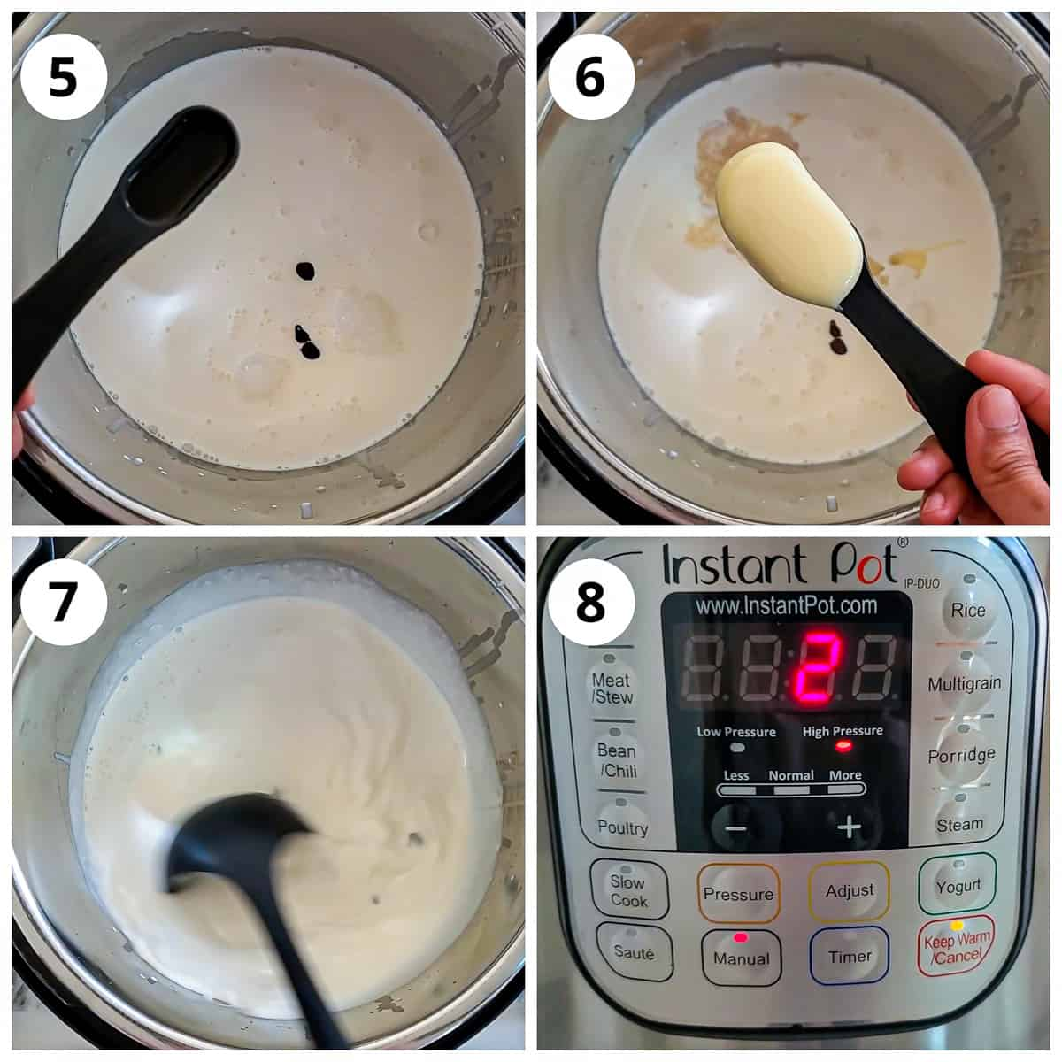 Steps for adding vanilla and condensed milk, mixing and pressure cooking to make hot chocolate