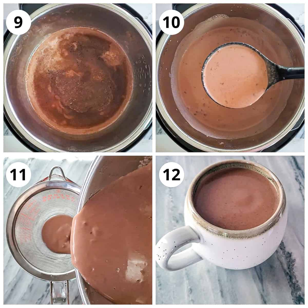 Opening the lid and mixing, straining and serving hot chocolate