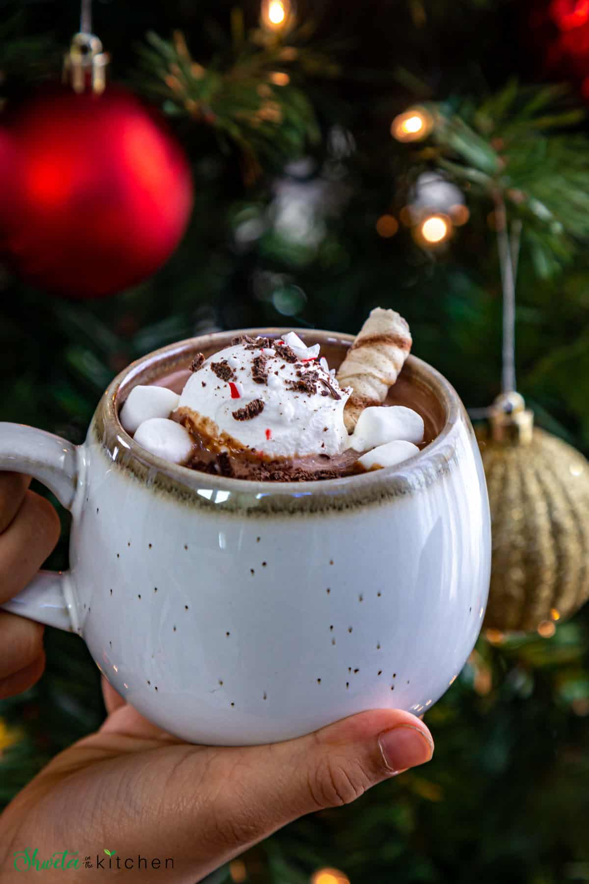 Hot chocolate with toppings held near with Chritmas three in bacckground