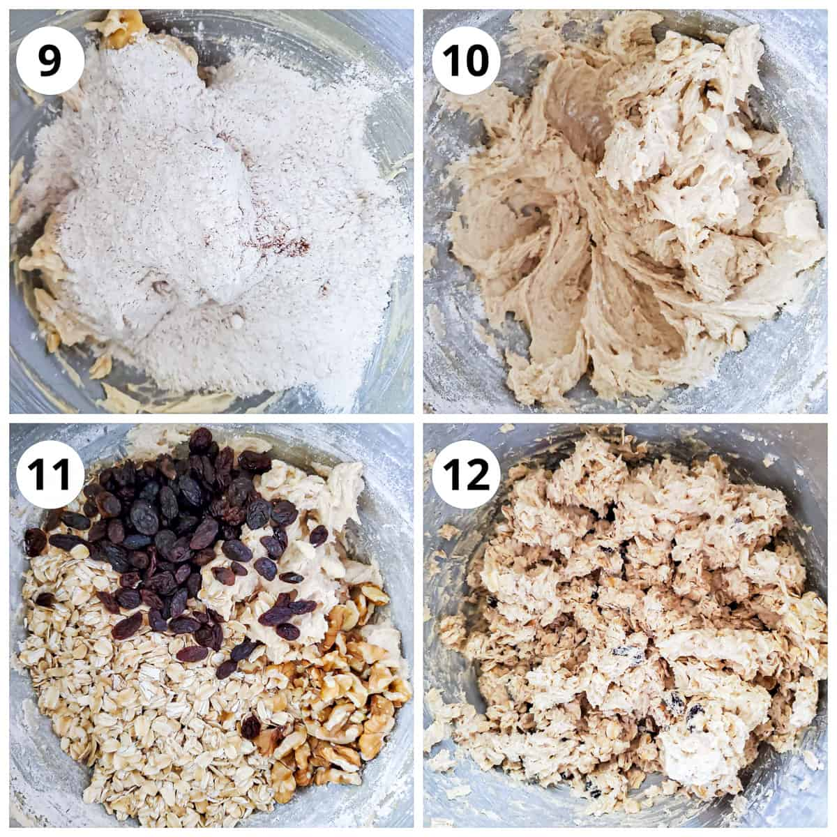 Adding dry ingredients, flour, raisin, oats and walnut to wet and mix until combined.