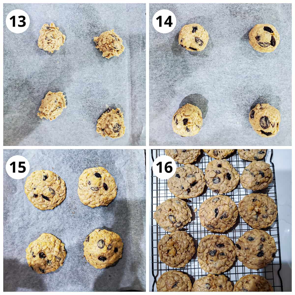steps for baking the oatmeal raisin cookies