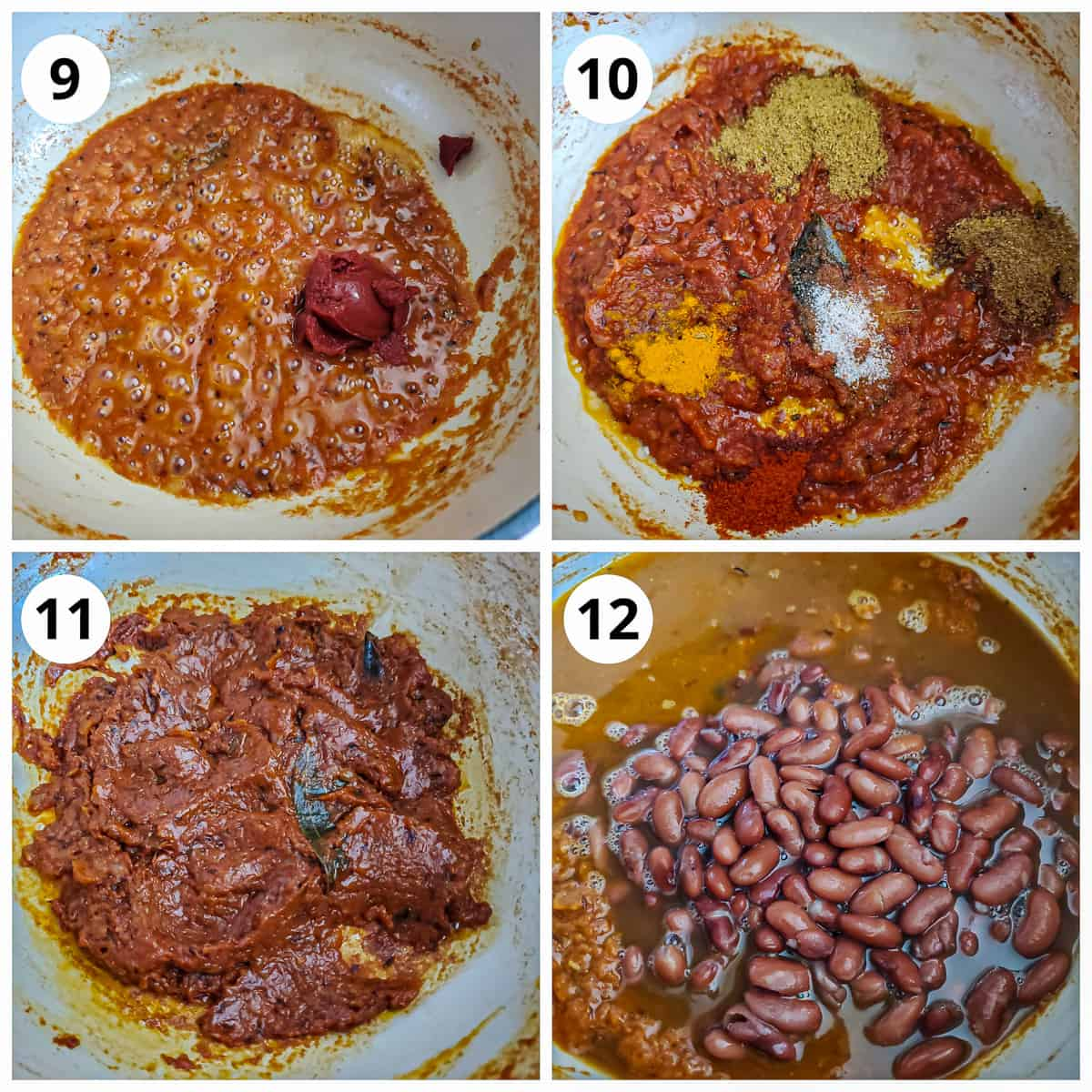 Steps for adding tomato paste, spices and cooked beans to the onion tomato masala