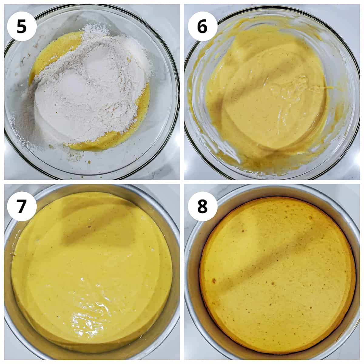 Steps to make cake batter and baking the cake