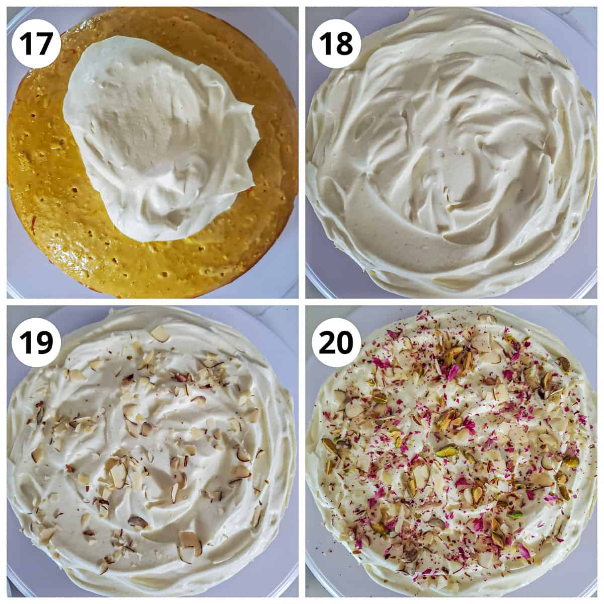 Steps to frost the rasmalai cake