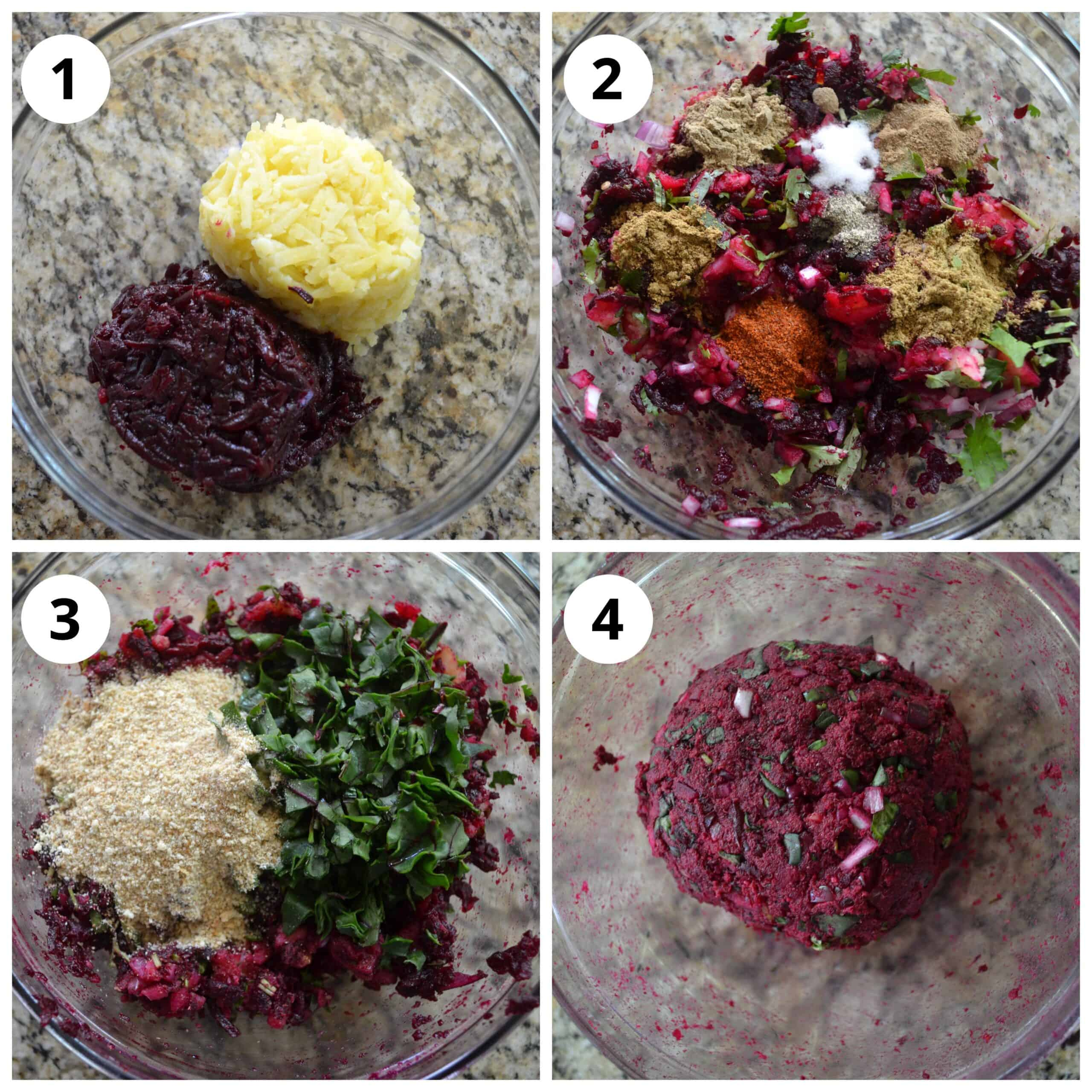 Make the beetroot cutlet mixture by mixing all ingredients
