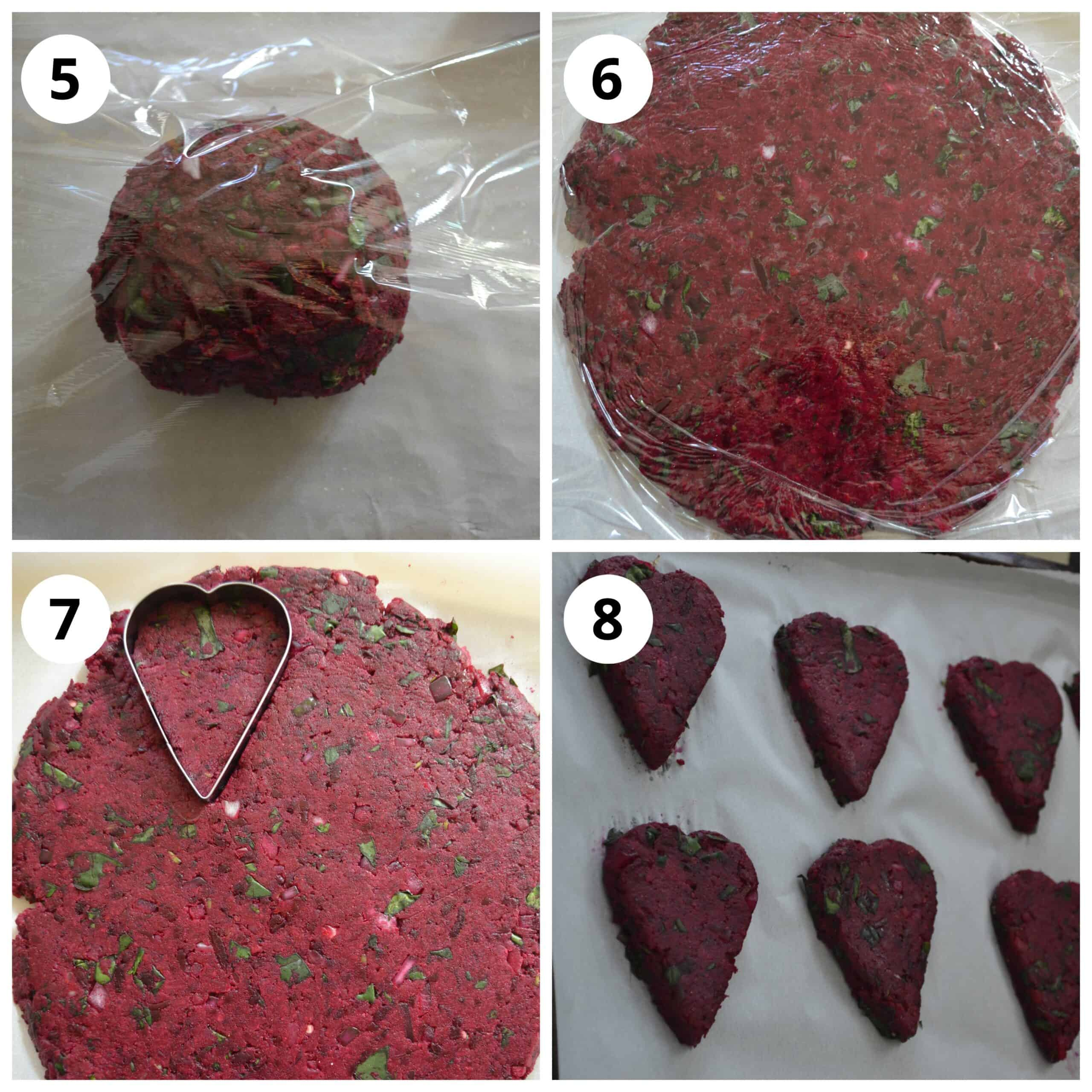 Steps for shaping Beetroot Cutlet using heart shaped cookie cutter