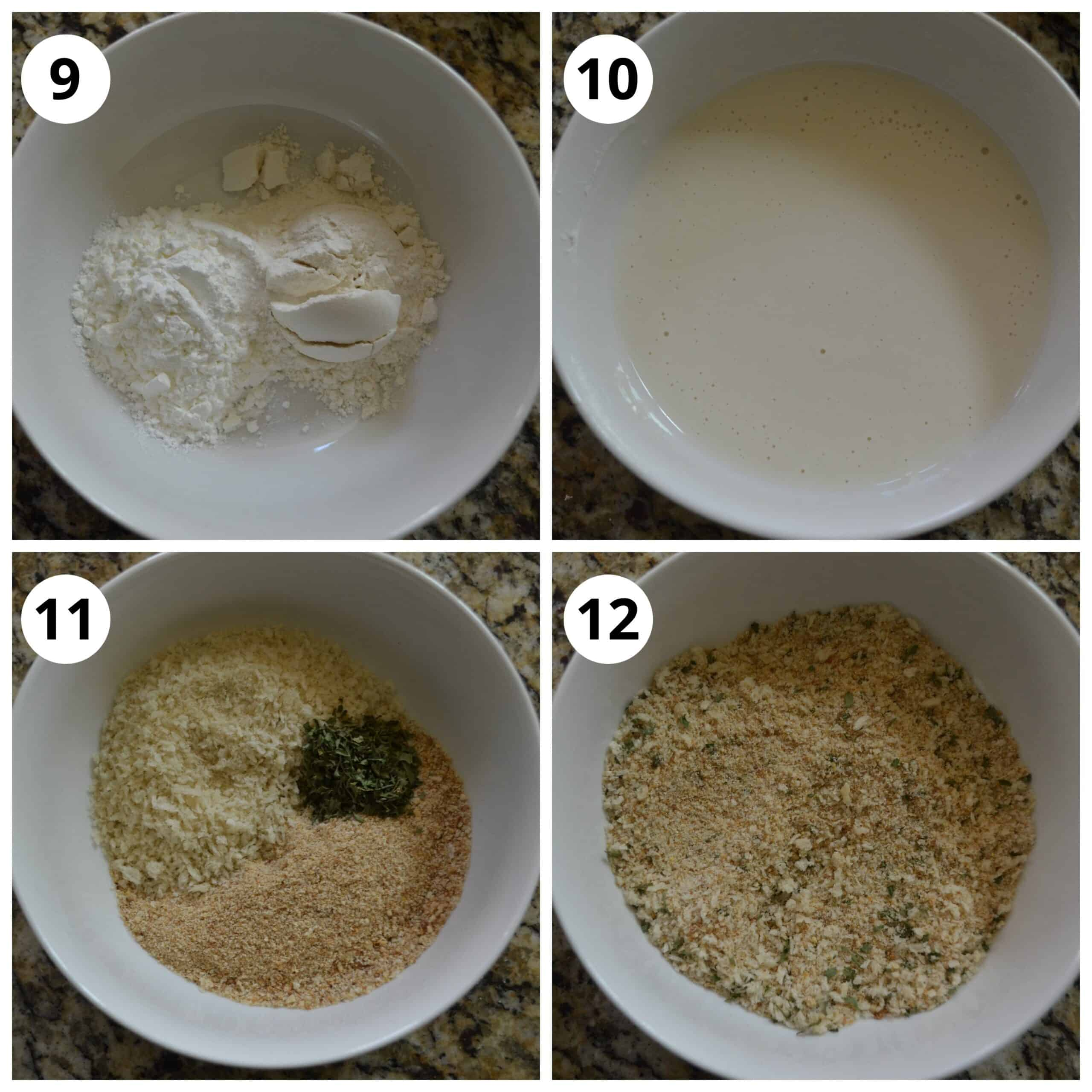 Steps to make the dry and wet mixture for breading the Beetroot Cutlets