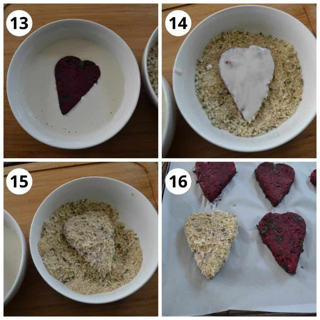 Steps fr coating the Beetroot Cutlet with wet and then dry mixture for breading