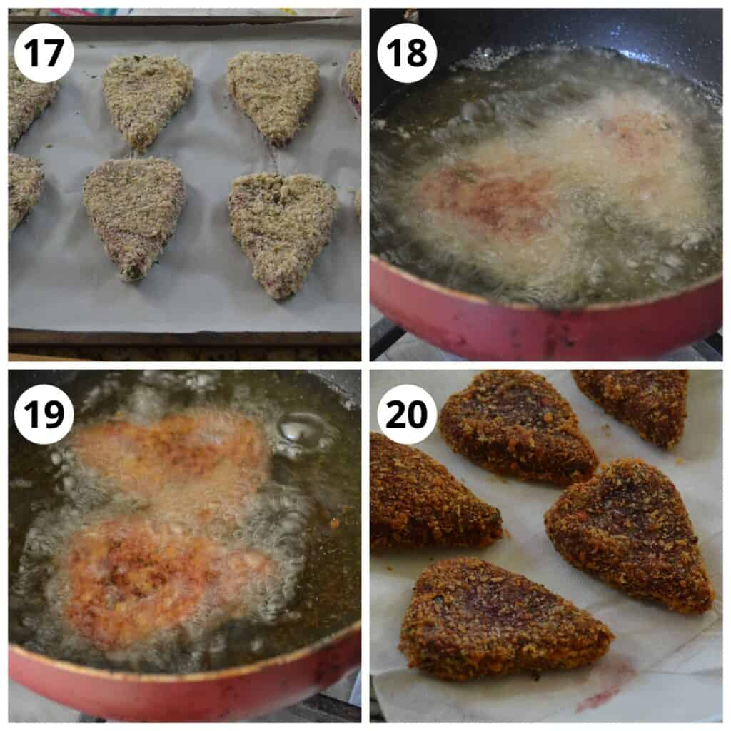Steps for deep frying the Beetroot Cutlets