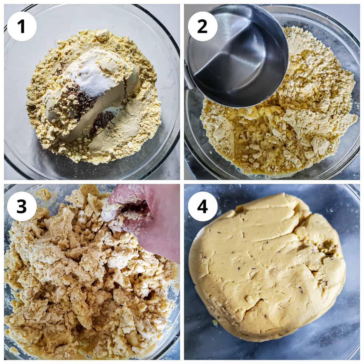 Steps to make makki ki roti dough by adding water and kneading