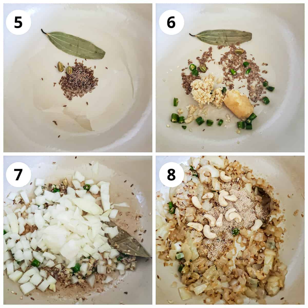 Steps for cooking ginger garlic, onions and cashews