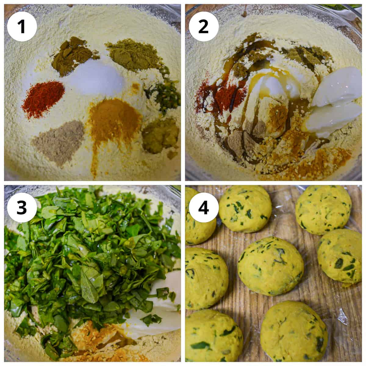 Steps to make methi thepla dough by mixing the flours, spices and methi leaves