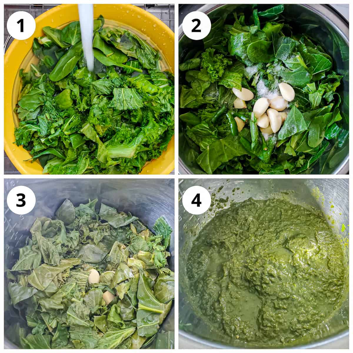 steps to cook sarson ka saag (mustard greens) and grinding into coarse paste