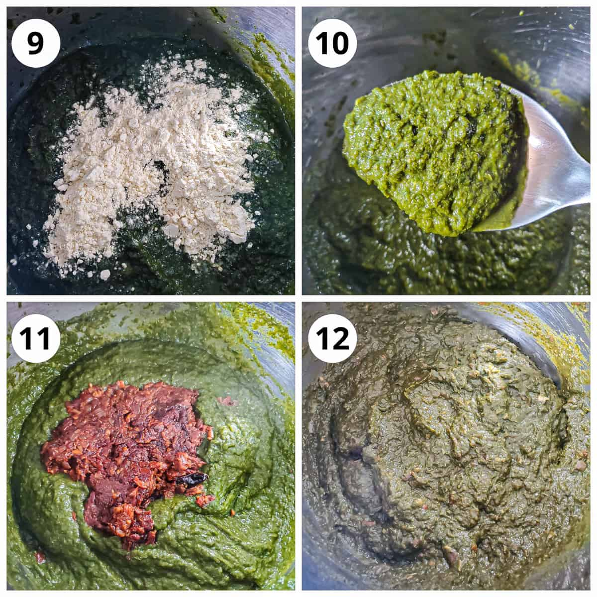 Adding maize flour and tadka tempering to the pressure cooked saag to make sarson ka saag