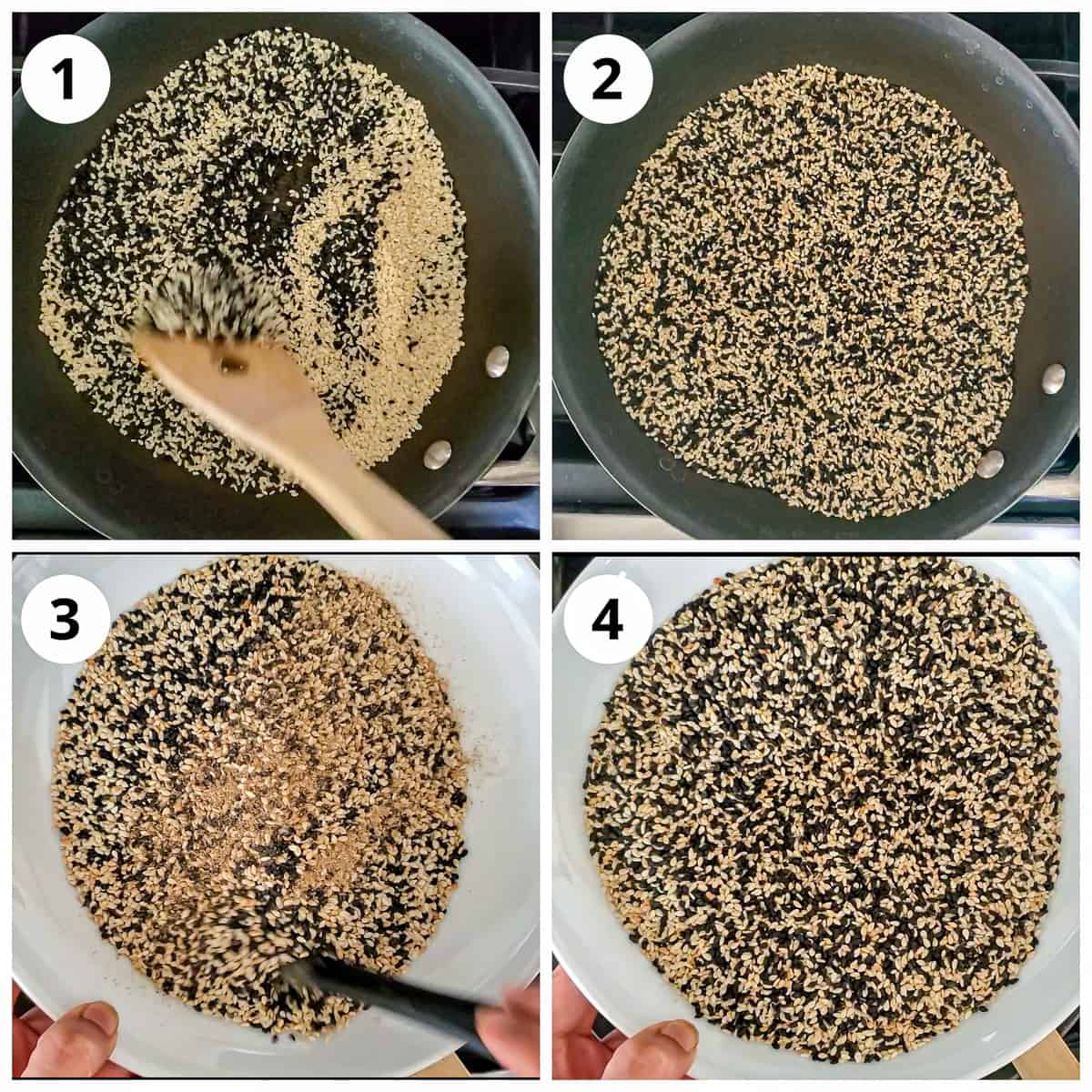 Roasting sesame seeds in a black pan for til chikki