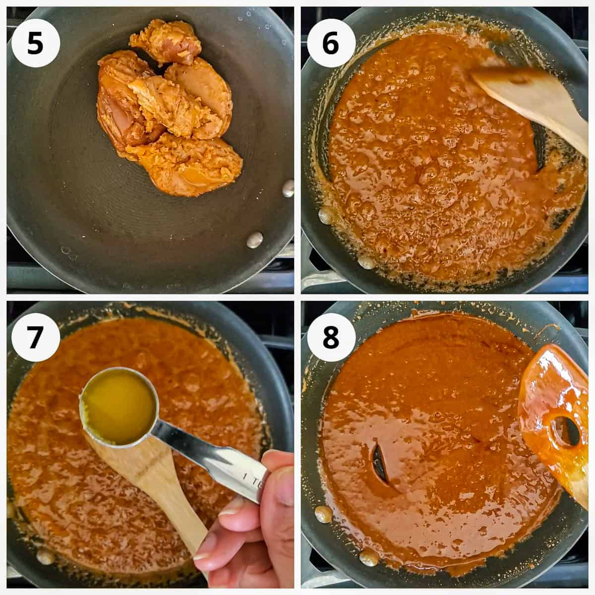 melting jaggery in a pan with ghee to make syrup for chikki