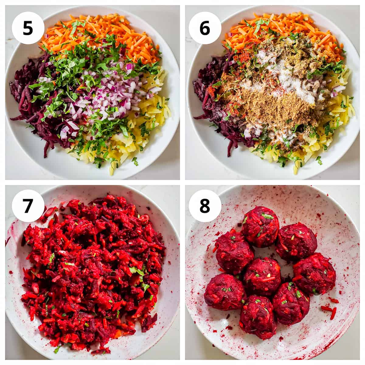 Steps for making he beetroot paratha sttuffing