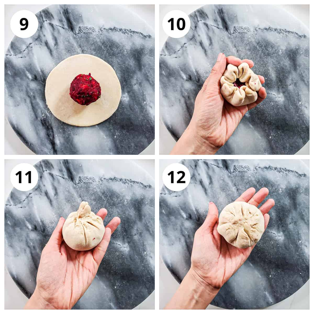 Steps for stuffing the beetroot filling in the dough to make beetroot paratha