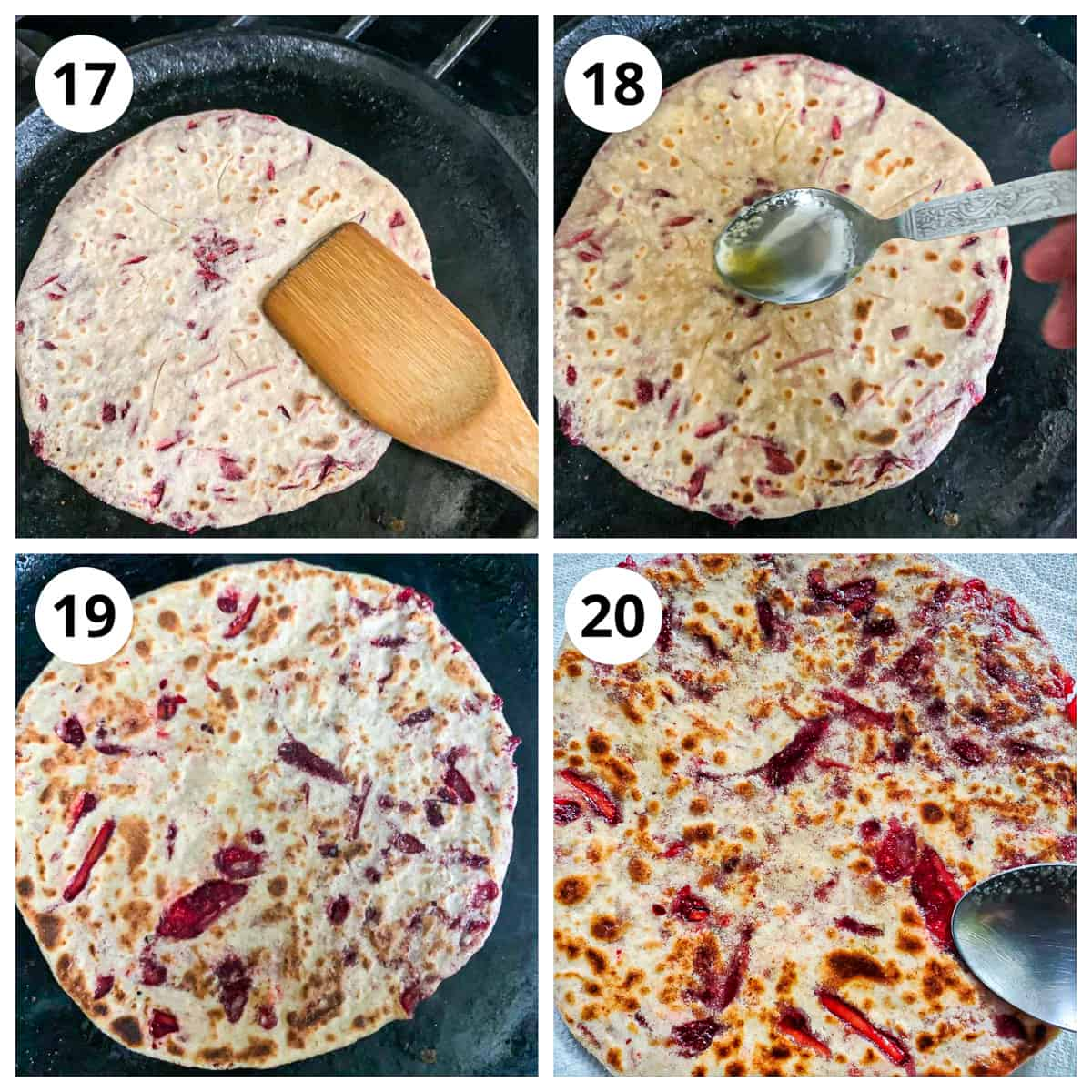 Steps to roast beetroot paratha