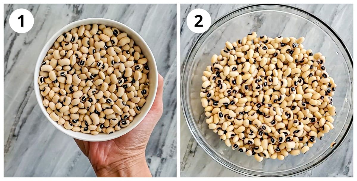 Steps showing before and after of soaked black eyed beans