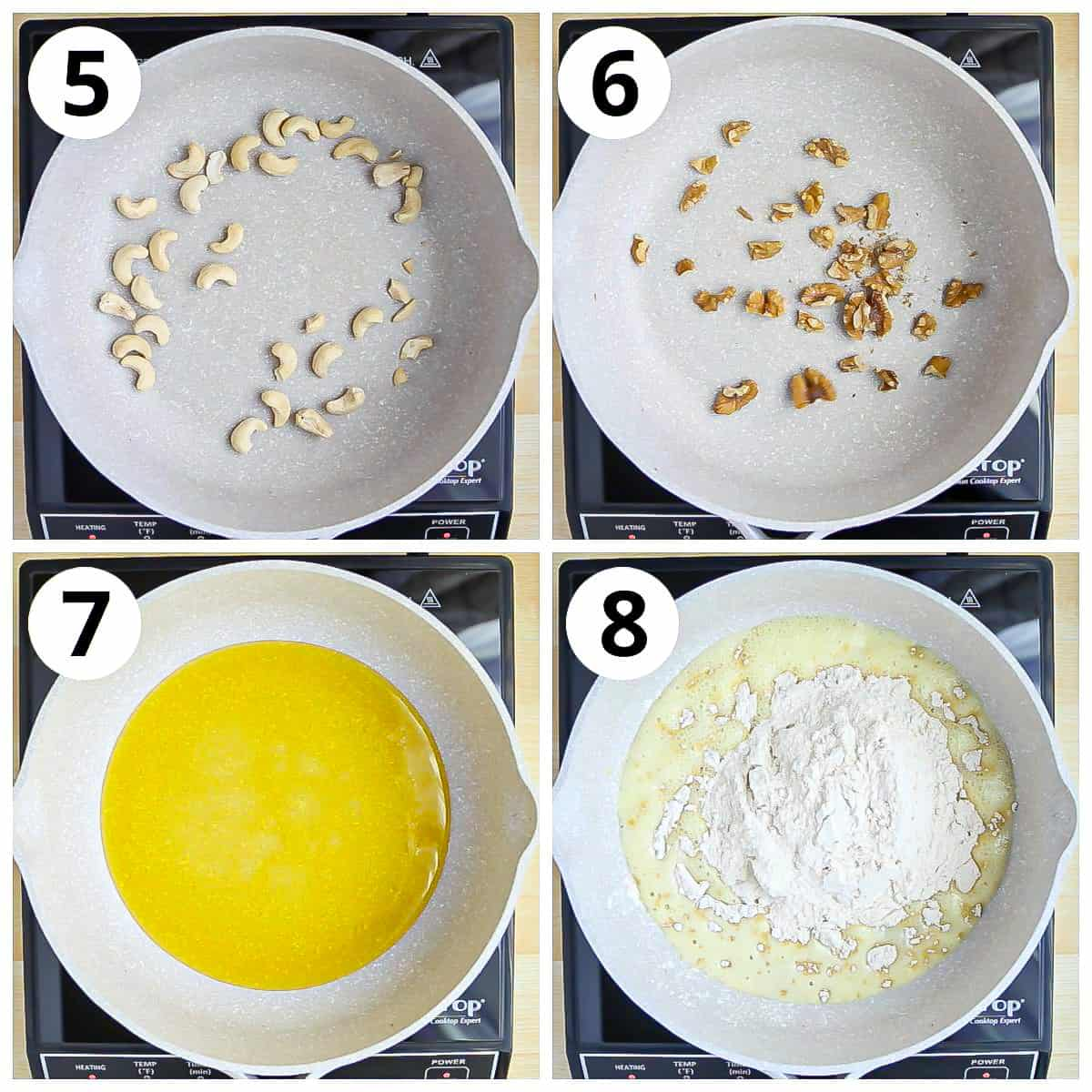 Steps for roasting cashews and walnuts and whole wheat flour for making Panjiri