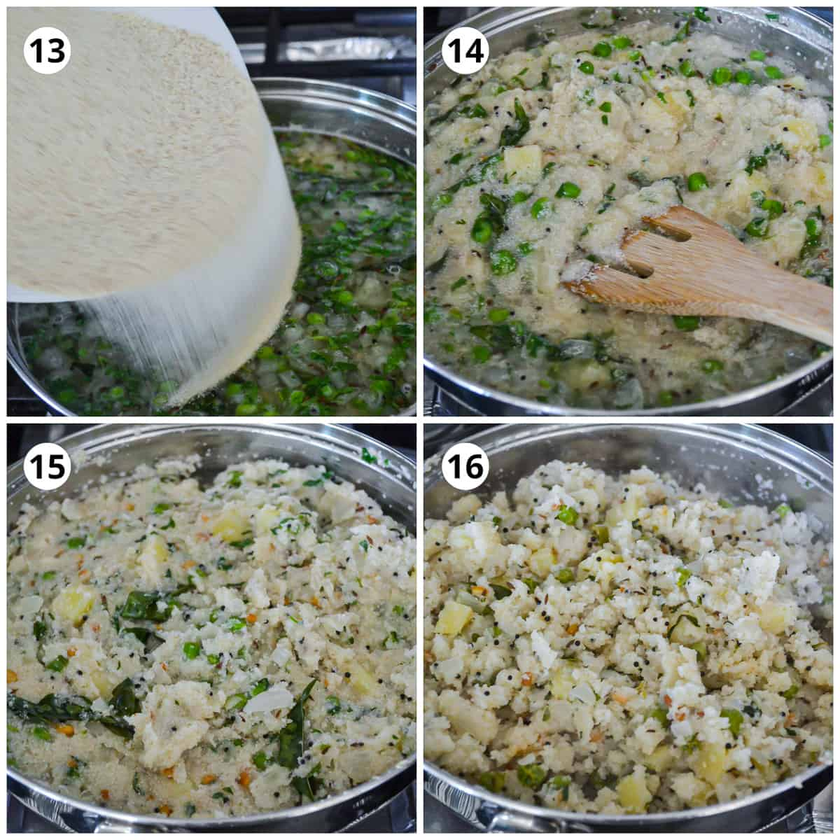 Adding the roasted semolina to the pot and finishing the dish