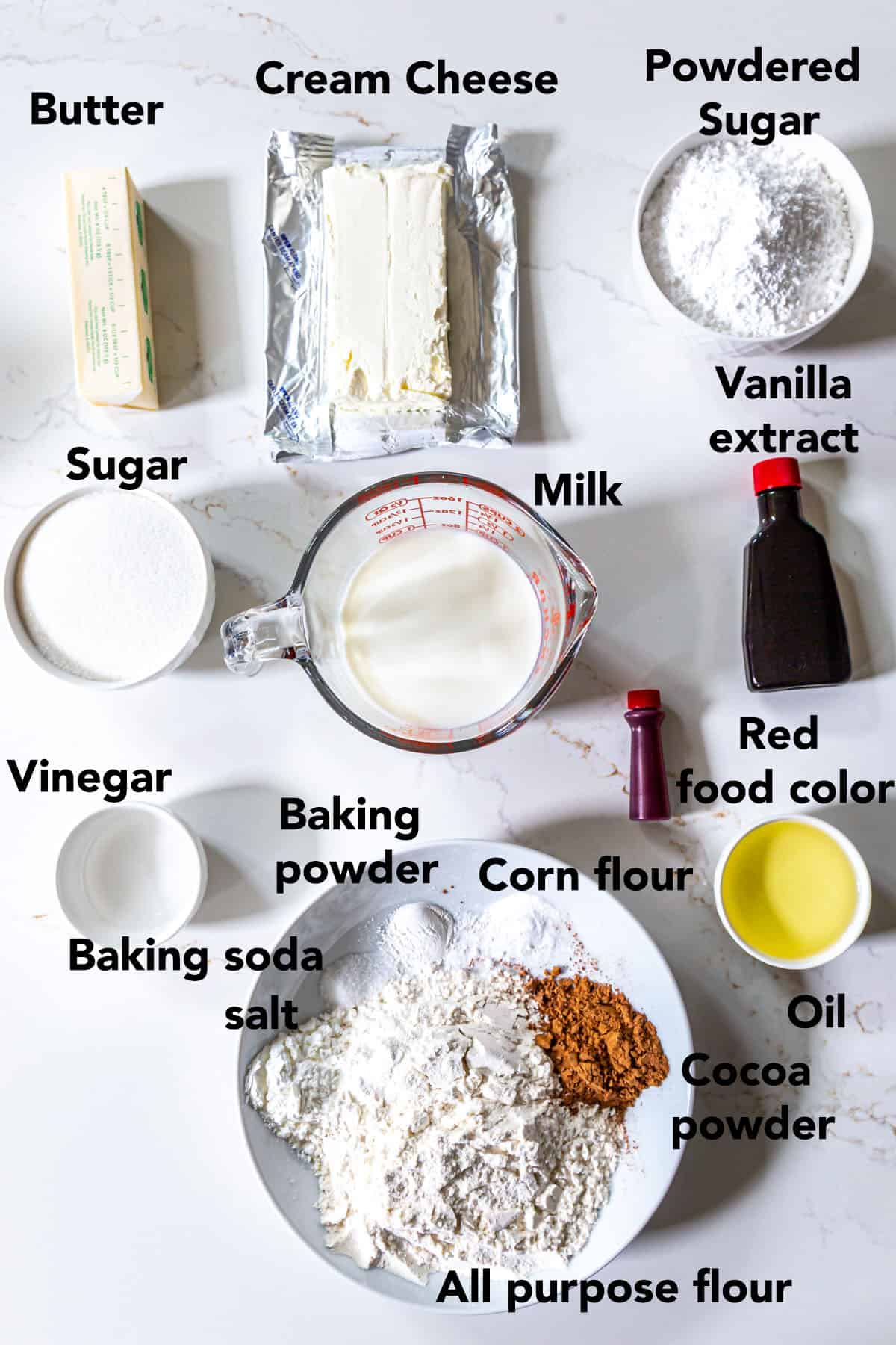 Red Velvet cupake recipe Ingredients in a bowl on white surface