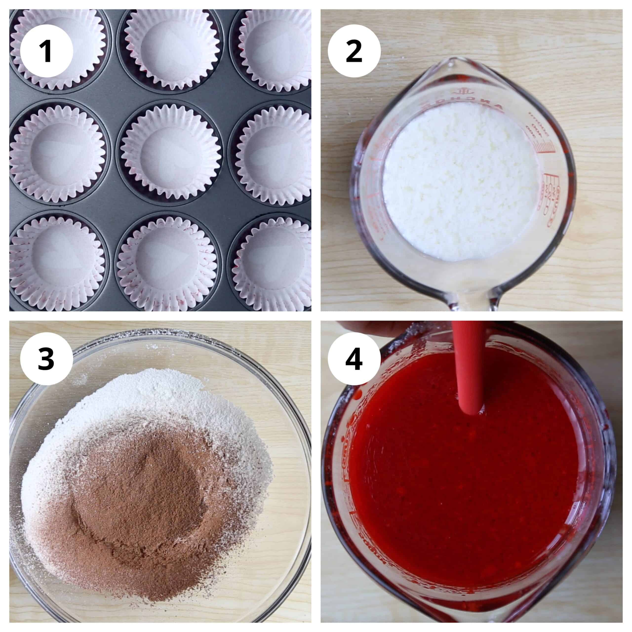 Steps for prepping wet and dry ingredients for red velvet cupcakes