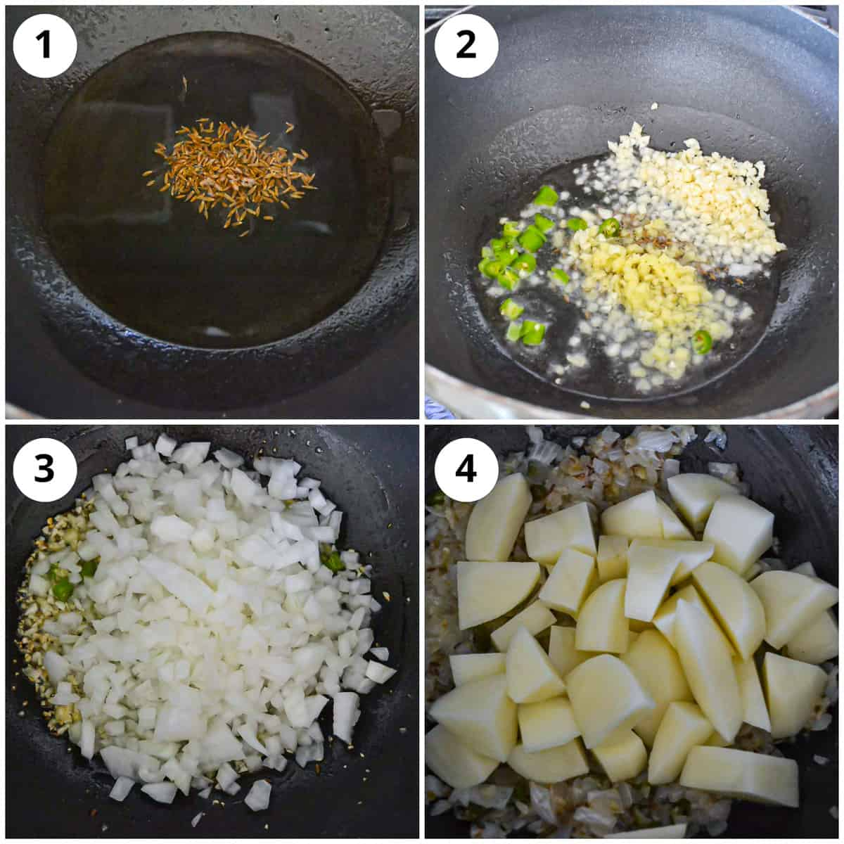 Steps for cooking cumin seeds, ginger, garlic, onion and potatoes in oil