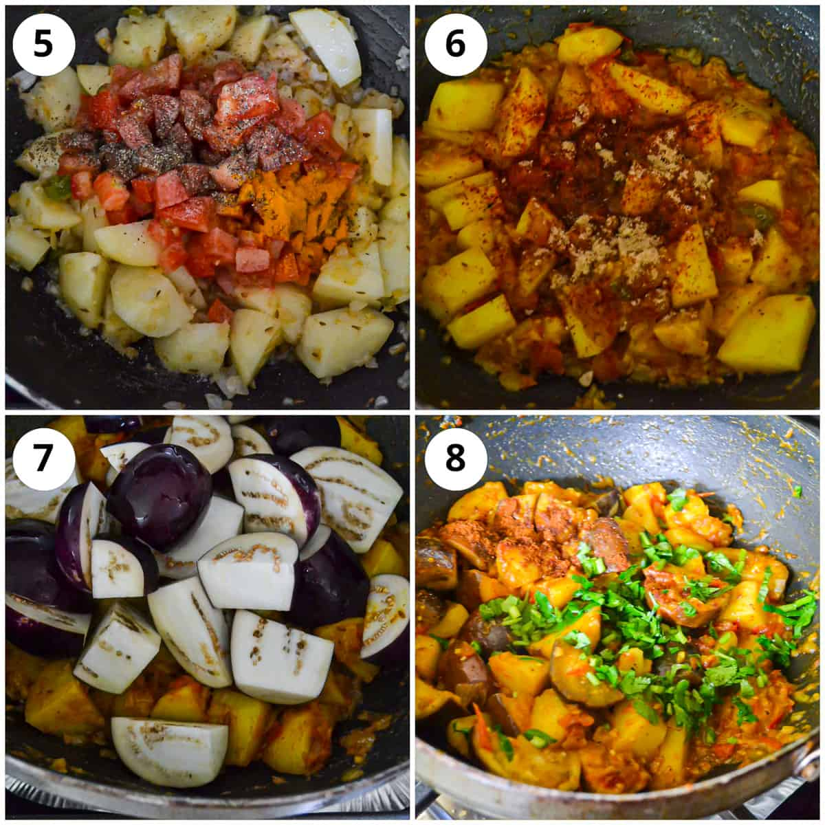 Step by step photos showing adding the eggplant, spices and and the finished dish