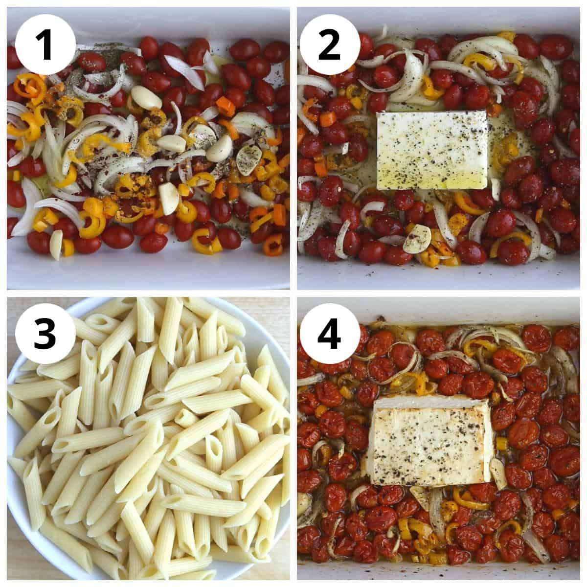 Steps for baking the feta cheese and tomatoes and cooking pasta