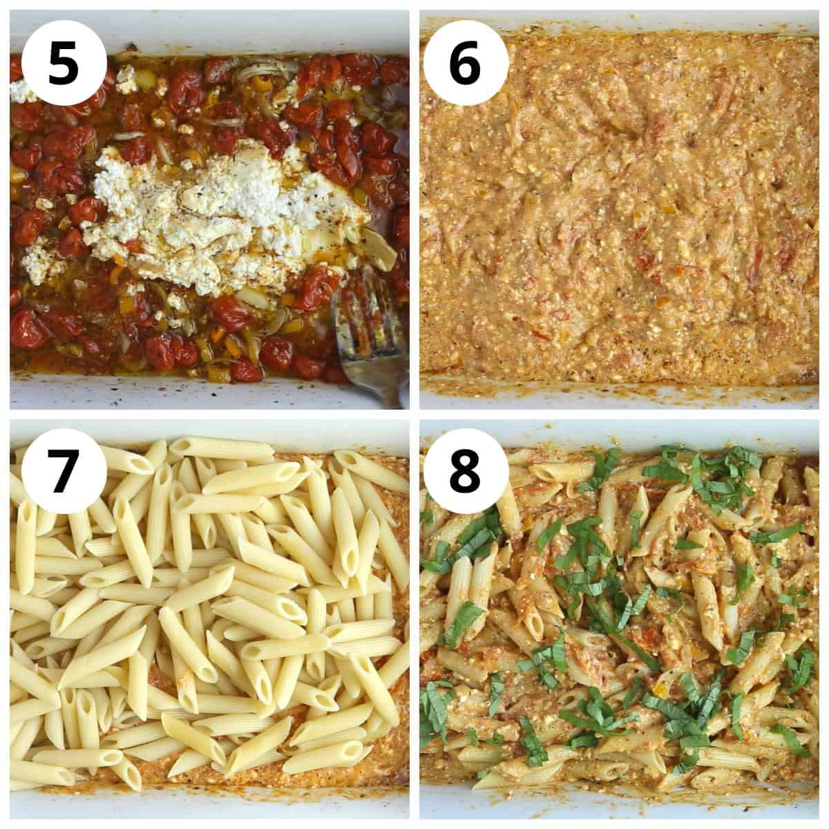 Baked Feta pasta Steps for making the sauce and mixing the pasta