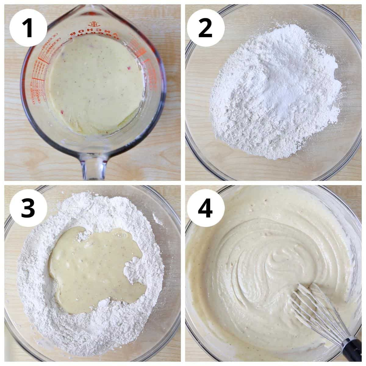Steps to make thandai cake batter by mixing the wet and dry ingredients.