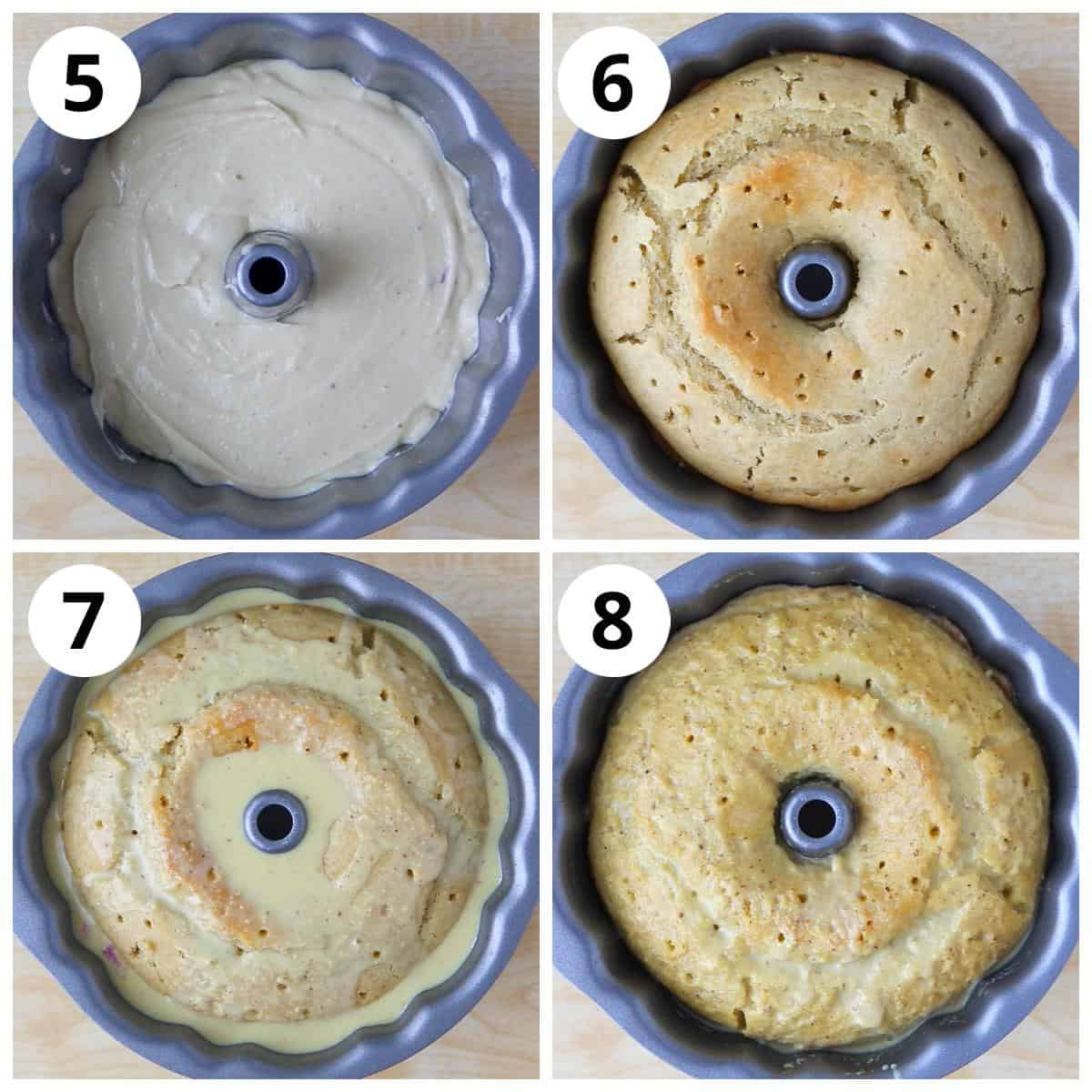 Steps for baking the thandai cake and soaking it in thandai