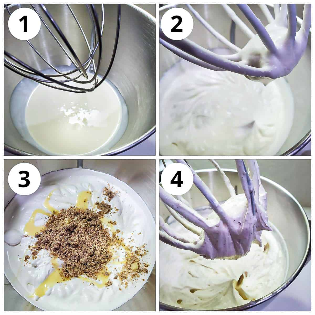 Steps to make thandai icecream base by whipping cream and adding condensed milk and thandai masala