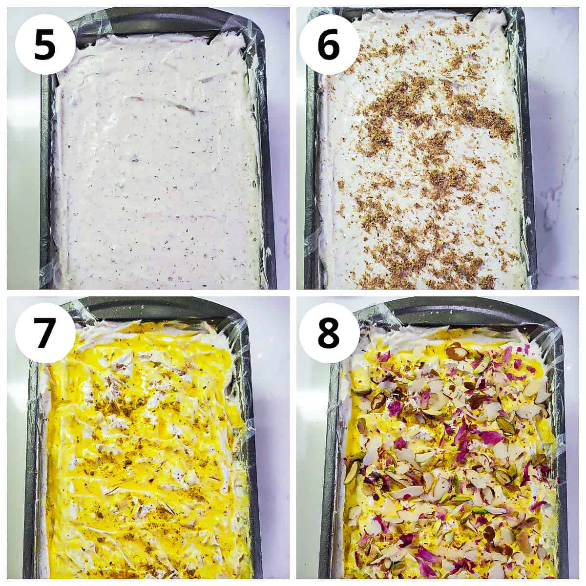 Steps for garnishing and freezing thandai icecream in a bread pan