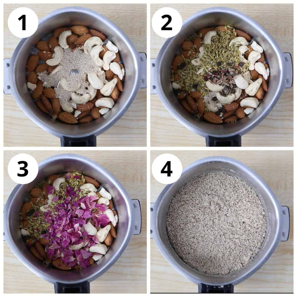 Steps to make thandai powder grinding all ingredients together