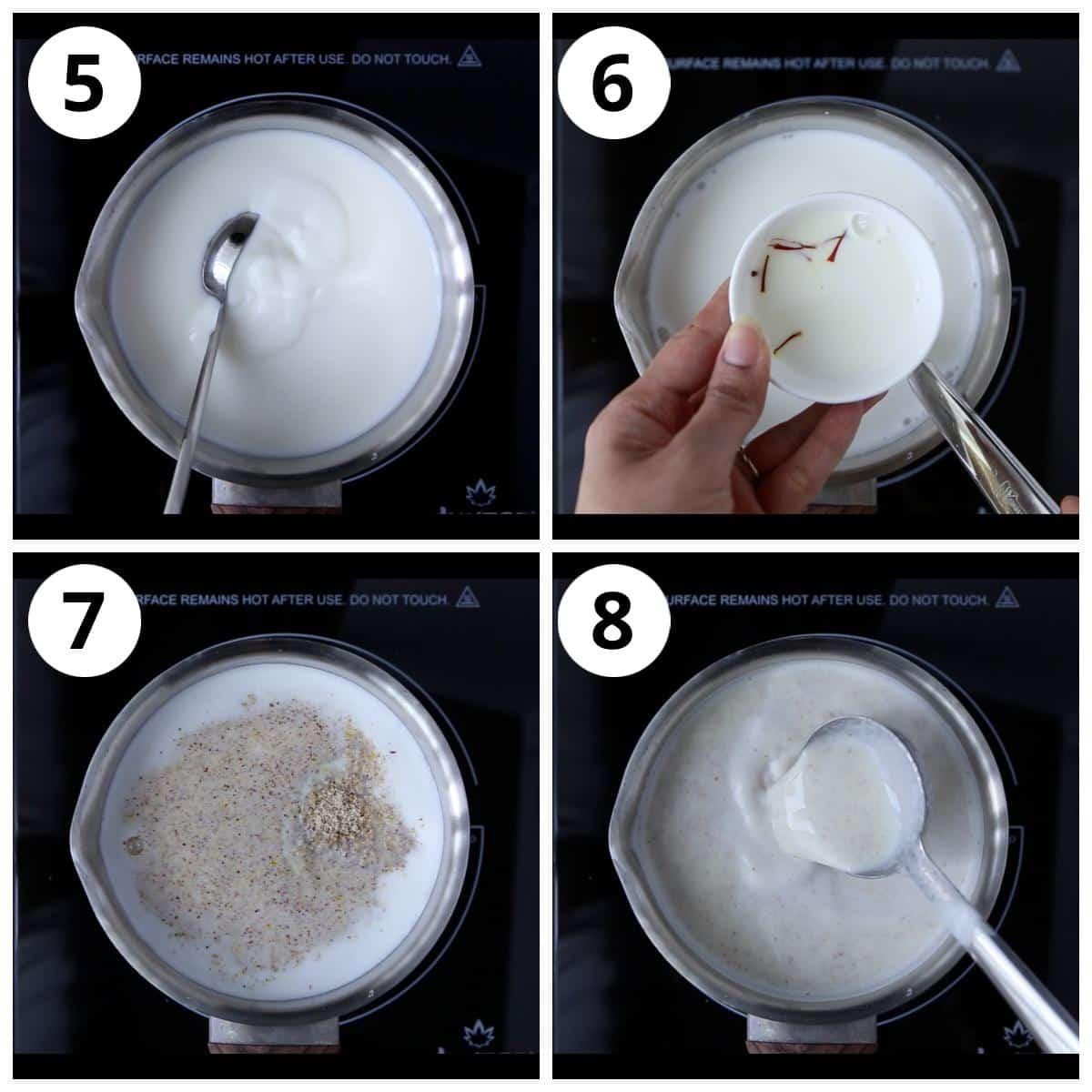 Steps to make thandai milk by boiling the milk, adding sugar and thandai powder