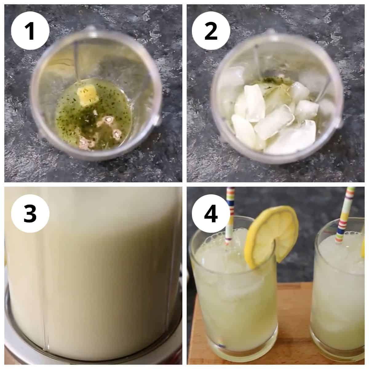 Steps for adding and blending Basil ginger lemonade