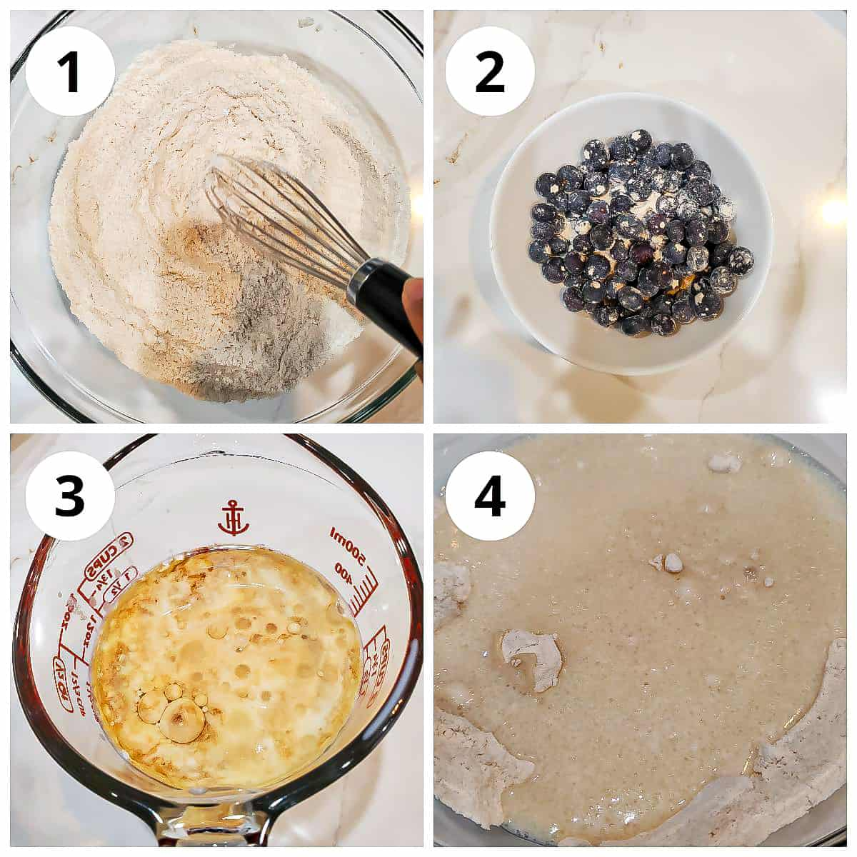 Steps to mix the wet and dry ingredients for eggless blueberry muffins