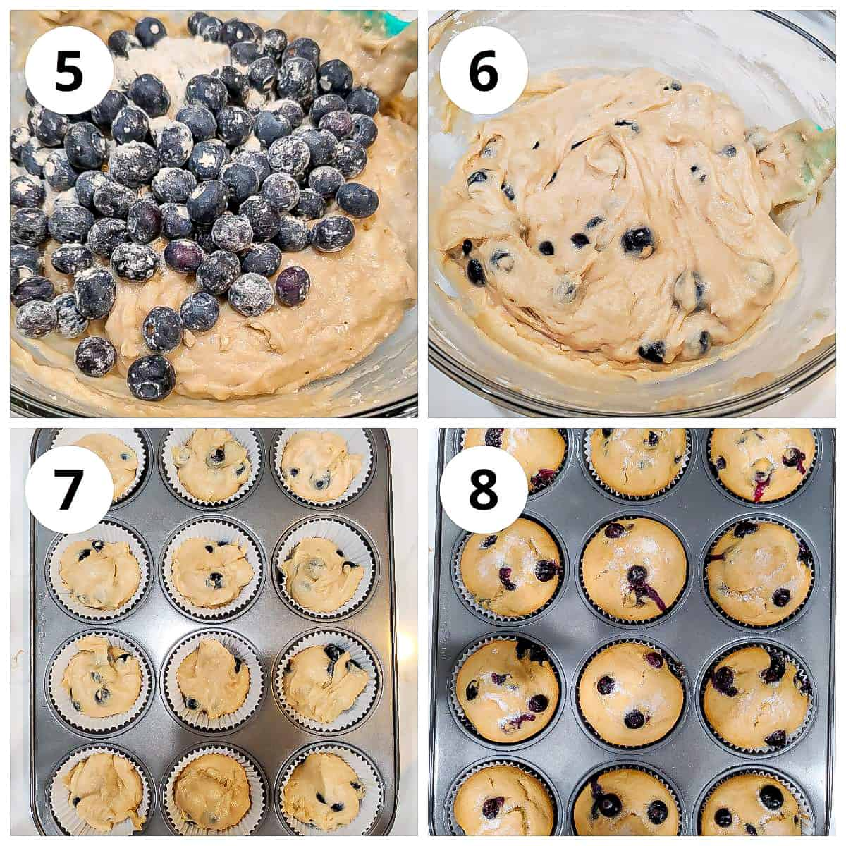 Steps for mixing blueberries into the batter, scoping into tray and baking the muffins