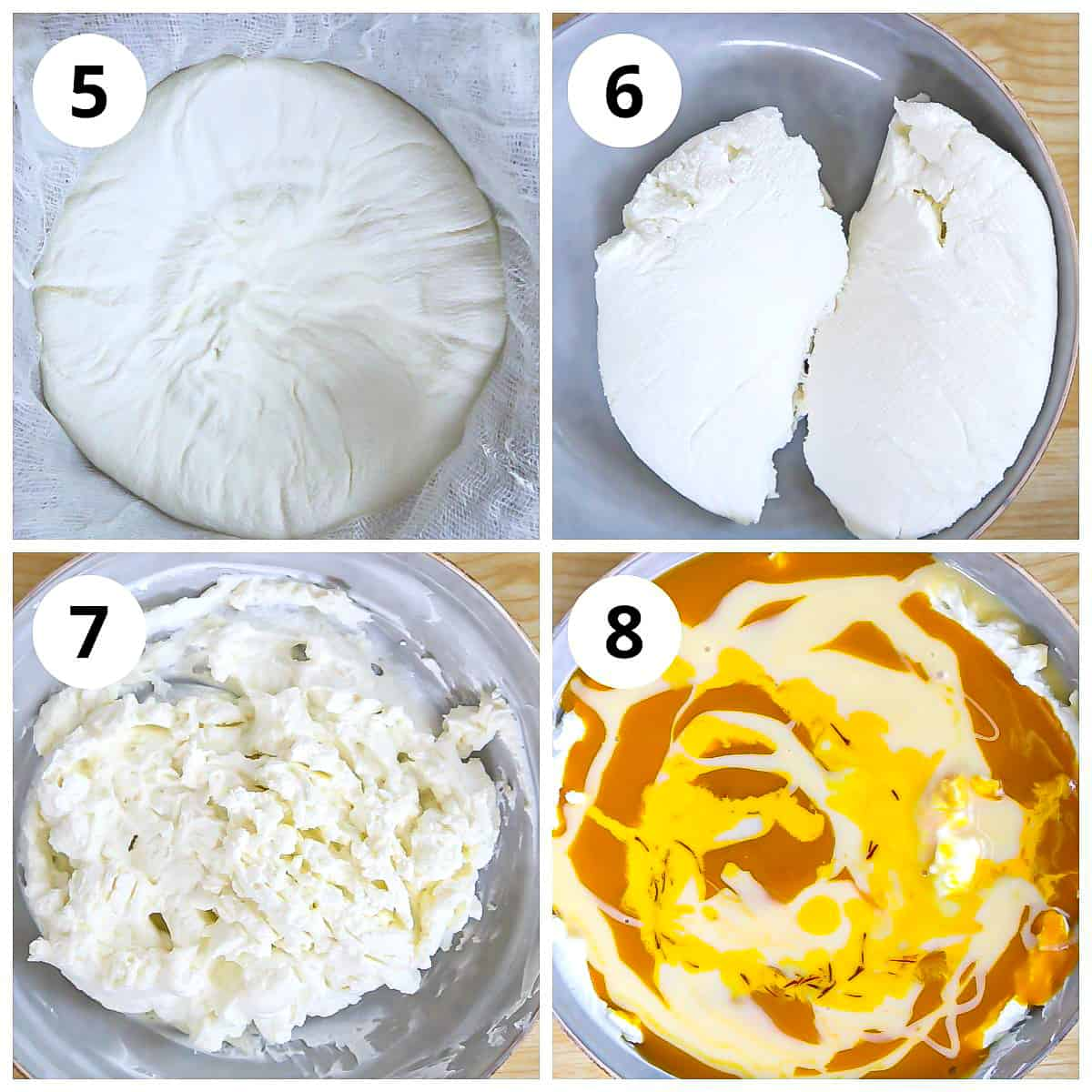 Steps for mixing the hung yogurt with mango pulp, condensed milk and saffron milk