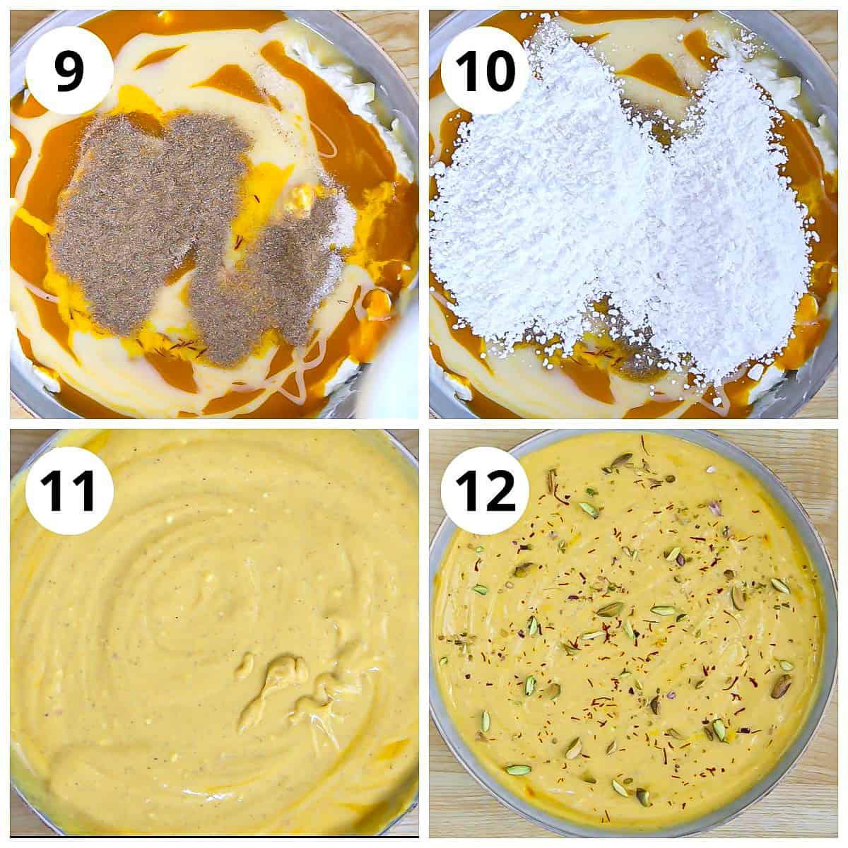 Add the powdered sugar, cardamom powder to make mango shrikhand