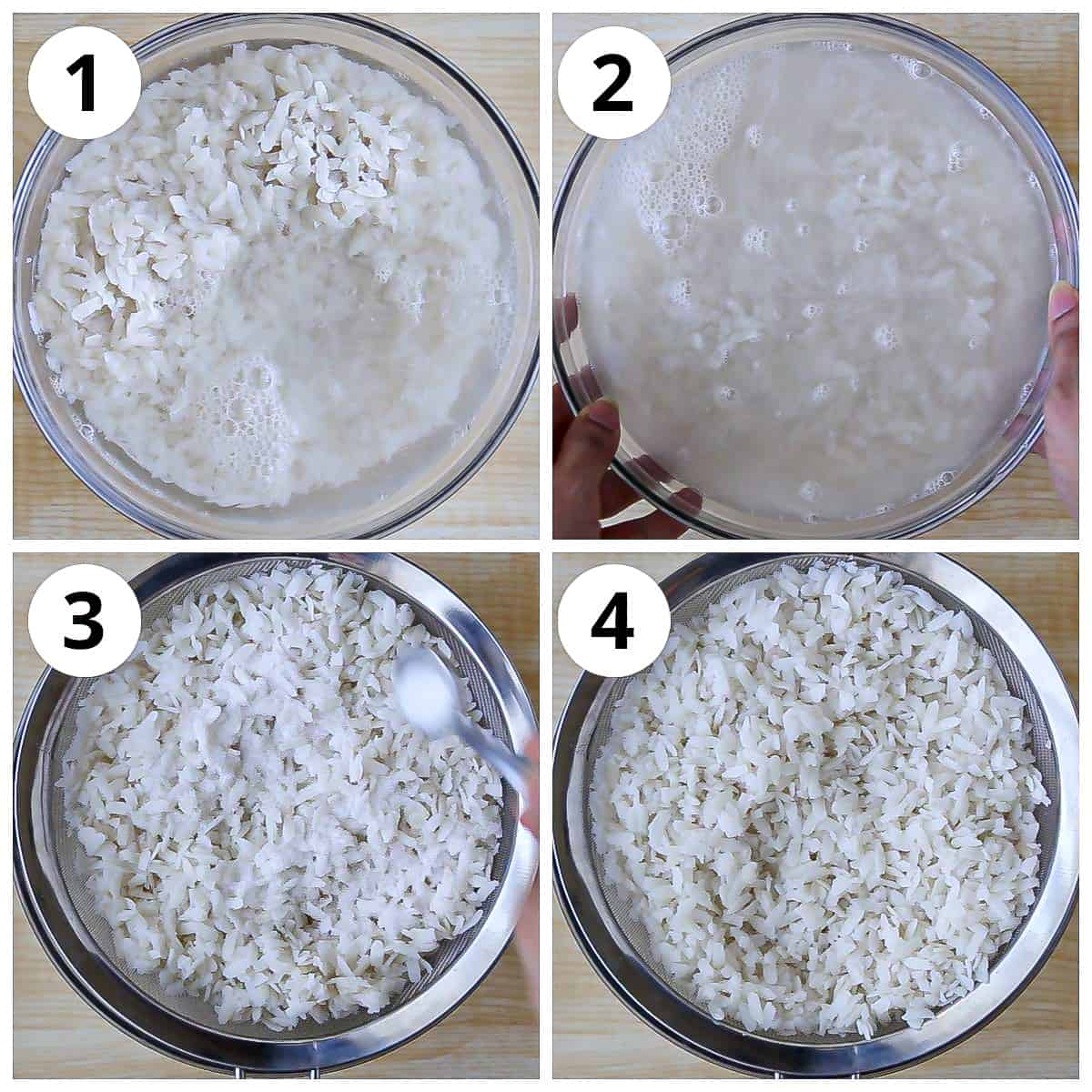 Step for soaking, draining and prepping poha