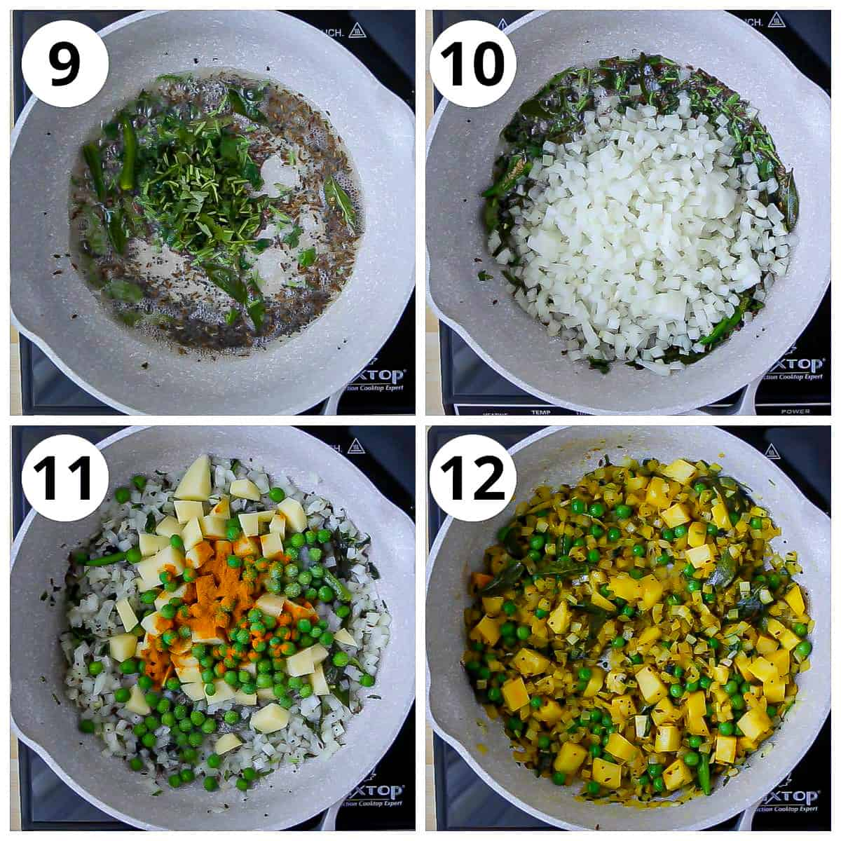 Steps for cooking the onions, potatoes and green peas for poha