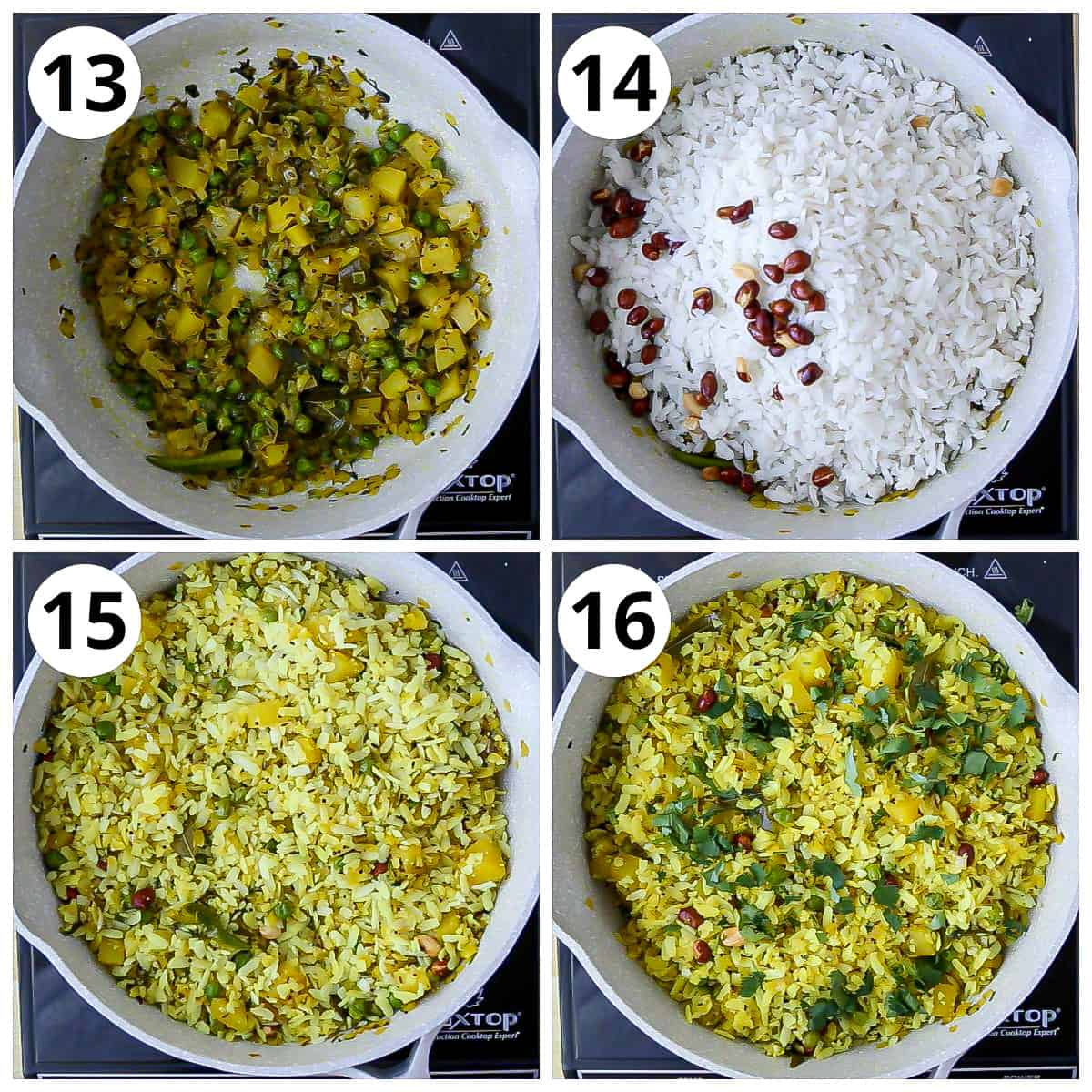Final steps to add poha to the masala and mixing